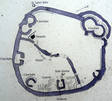 Diagram of Reask Monastic SIte, DIngle Peninsula, Ireland