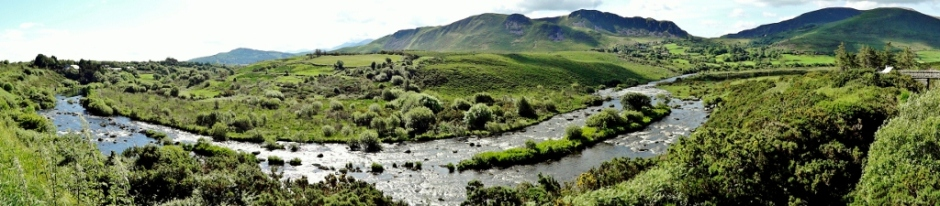 Panorama of Caragh River, Ring of Kerry, Ireland